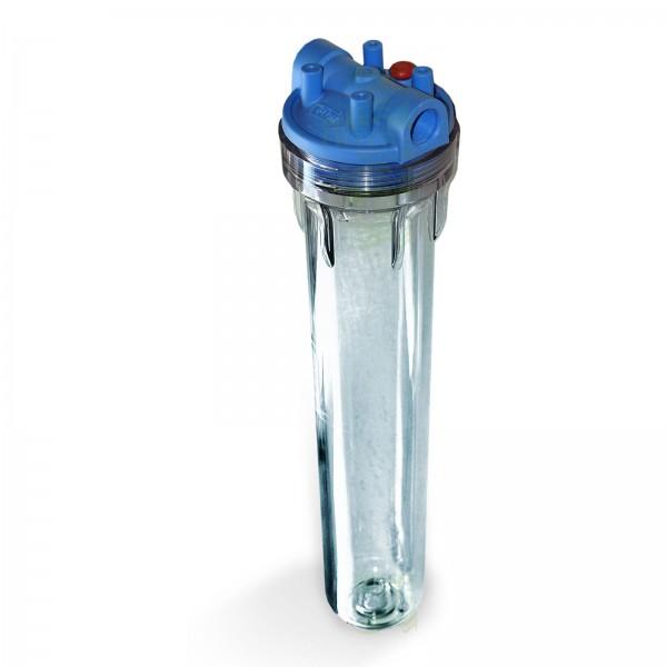 20 Zoll x 2,5 Zoll Wasserfilter-Gehäuse, blau/klar