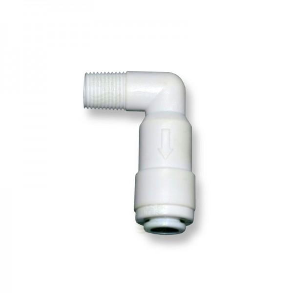 """Quickverschl., Winkel 6,4mm (1/8""""AG x1/4""""Schlauch) m. Rückschlagventil"""