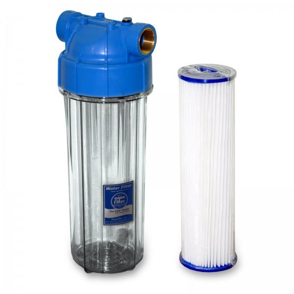 10x2,5 Zoll Wasserfiltergehäuseset 3/4 Zoll IG + 10 µm Polyesterfilter, 3-5x verwendbar
