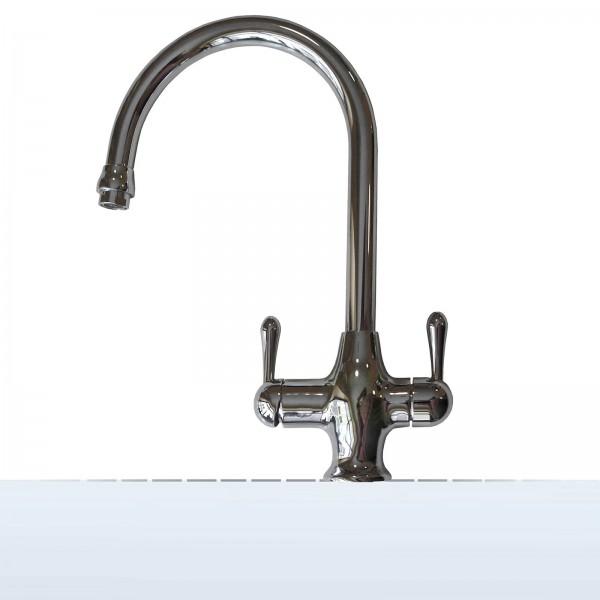 Design-Drei-Wege-Wasserhahn Roma, 3-Wege-Wasserhahn, verchromt