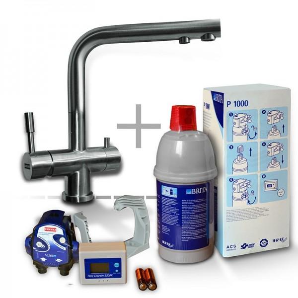 FRANKE Edelstahlwasserhahn mit BRITA P 1000 System