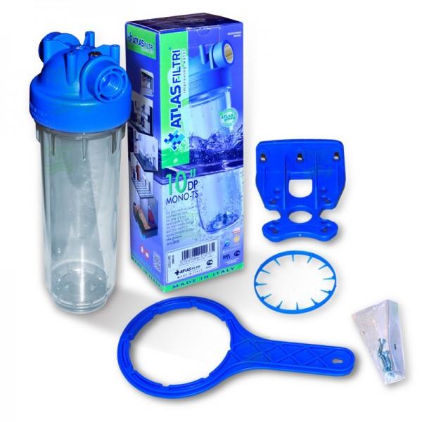 """10 Zoll Wasserfiltergehäuse mit 1/2"""" Kunststoffgewinde, Italy"""