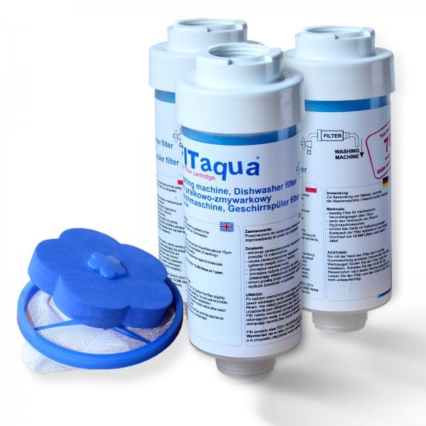 3x FitAqua Wasserfilter für Waschmaschine, Spülmaschine, gratis Fusselsieb