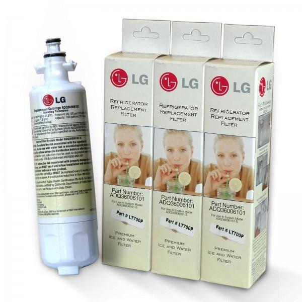 3x LG Wasserfilter Lamona LT 700P / ADQ36006101, ADQ36006102 Filter