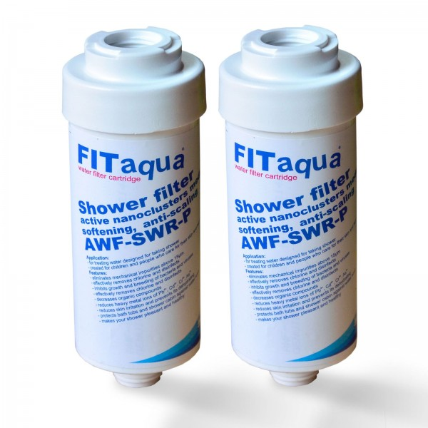 2x Duschfilter FitAqua, Wasserfilter zum Wohle Ihrer Haut AWF-SWR-P
