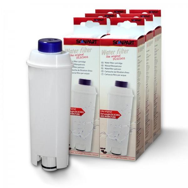 6x DeLonghi DLS C002 SER3017 5513292811 kompat., Scanpart Wasserfilter