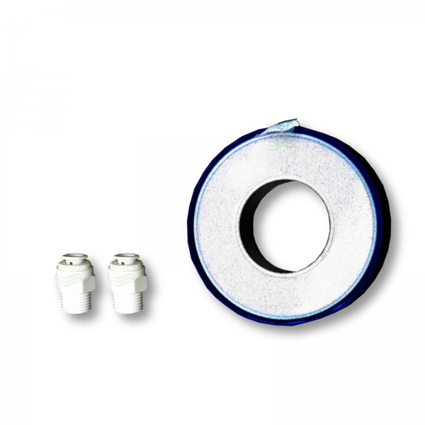 Adapterpaar für Kühlschrankfilter, 1 Teflonband, 1 Infozettel