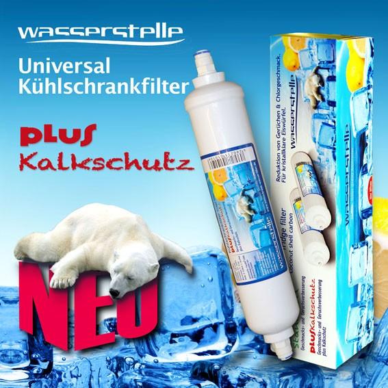 Universal-Kühlschrankfilter Wasserstelle Klick Plus Kalkschutz