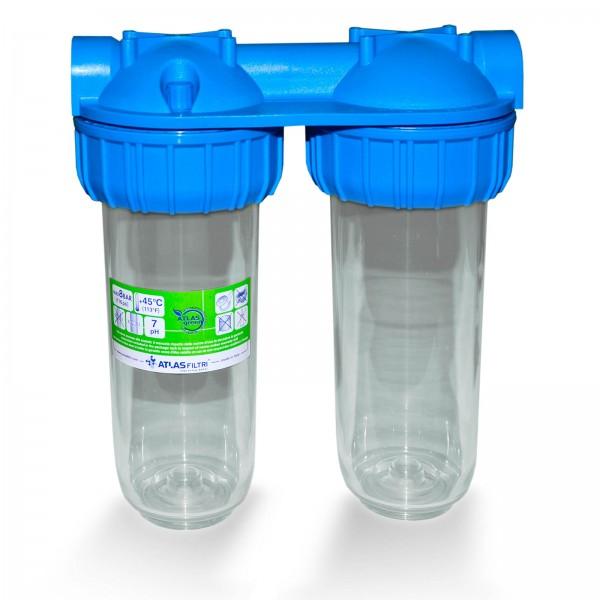 Untertisch Doppelgehäuse 25,4cm/10 Zoll, Wasserfilter Gehäuse