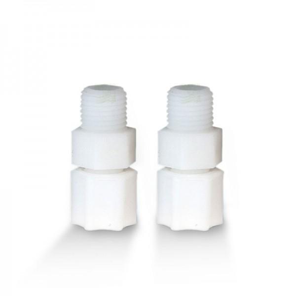 2 Adapter für Kühlschrankfilter, Jaco-Schraubverschlüsse, Teflon, Infozettel