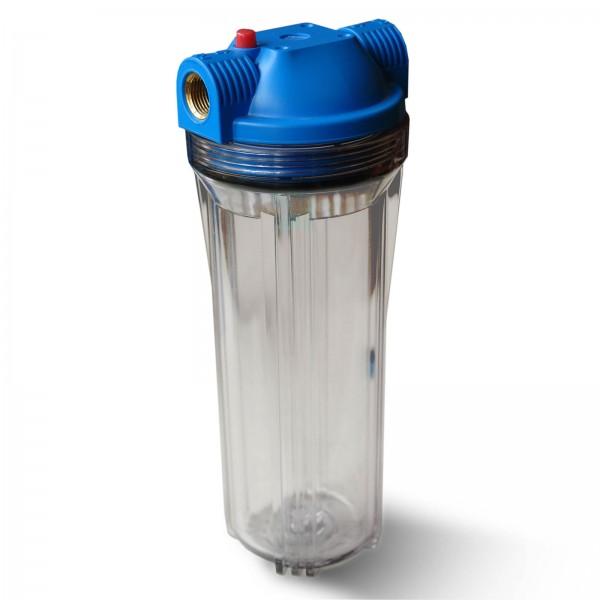 """25,4cm/10 Zoll Wasserfilter Gehäuse blau/klar mit 3/4"""" IG Messing"""