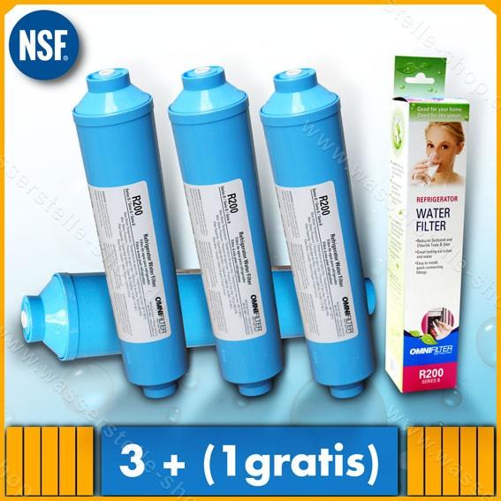 4 Stück Omnifilter R200 Wasserfilter KLICK für Side by Side Kühl