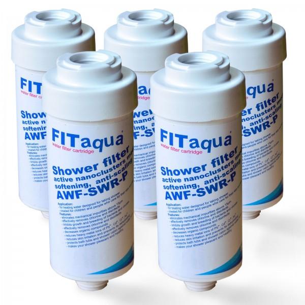 5x Duschfilter FitAqua, Wasserfilter zum Wohle Ihrer Haut AWF-SWR-P