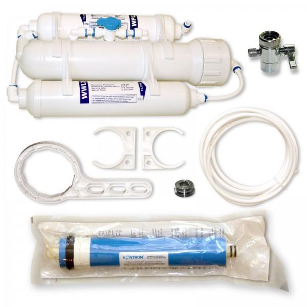 3 Stufen Umkehrosmosefilter 75 GPD für Aquarium, small mit Spülventil