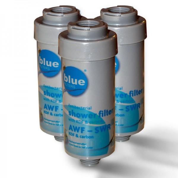 3x Duschfilter Bluefilter, Wasserfilter zum Wohle Ihrer Haut
